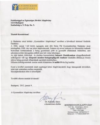 Madarász utcai Gyermekkórház Intenzív Osztálya